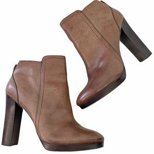 COACH Brown Leather Heeled Ankle Boots - Size 9